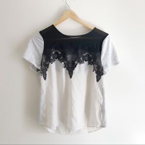 Apt. 9 Lace Embroidered Sheer Color-block Top